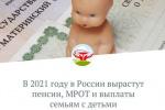 В 2021 году в России вырастут пенсии, МРОТ и выплаты семьям с детьми