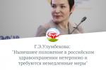 """Г.Э. Улумбекова: """"Нынешнее положение в российском здравоохранении нетерпимо и требуются немедленные меры"""""""