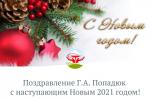 Поздравление Г.А. Попадюк с наступающим Новым 2021 годом!